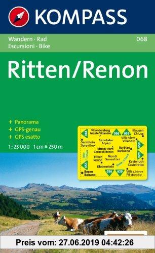 Gebr. - Ritten /Renon: Wanderkarte mit Panorama und Radwegen. GPS-genau. 1:25000
