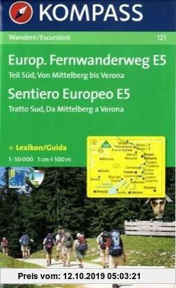 Gebr. - Europäischer Fernwanderweg E 5, Teil Süd: Wandern / Escursioni. 1:50.000