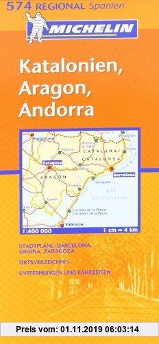 Gebr. - Katalonien, Aragon, Andorra: Strassenkarte mit touristischen Hinweisen. Stadtpläne: Barcelona, Girona/Gerona, Zaragoza. Ortsverzeichnis, Entfe