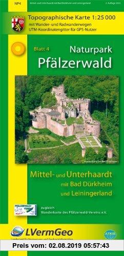 Gebr. - Naturpark Pfälzerwald /Mittel- und Unterhaardt mit Bad Dürkheim und Leiningerland: Naturparkkarte 1:25 000 mit Wander- und Radwanderwegen