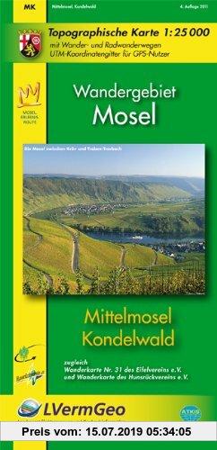 Gebr. - Mittelmosel, Kondelwald (WR): Topographische Karte 1:25000 mit Wander- und Radwanderwegen /Wandergebiet Mosel