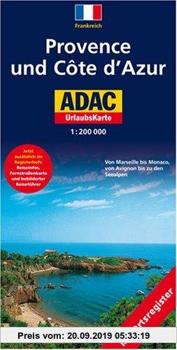 Gebr. - ADAC UrlaubsKarte Provence, Cote d' Azur 1 : 200 000: Von Marseille bis Monaco, von Avignon bis zu den Seealpen. Mit Ortsregister, Fernstraßen