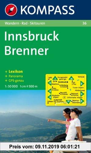 Gebr. - Innsbruck, Brenner: Wandern / Rad / Skitouren. Mit Panorama. GPS-genau. 1:50.000