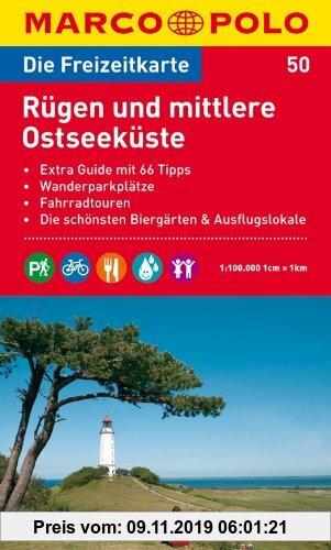 Gebr. - MARCO POLO Freizeitkarte Rügen und mittlere Ostseeküste 1:100.000: Extra Guide mit 66 Tipps / Wanderparkplätze / Fahrradtouren / Die schönsten