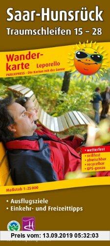 Gebr. - Wanderkarte Leporello Saar-Hunsrück Traumschleifen 15-28:mit Ausflugszielen, Einkehr- & Freizeittipps, wetterfest, reißfest, abwischbar, GPS-g