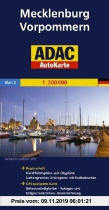 Gebr. - ADAC AutoKarte Deutschland, Mecklenburg-Vorpommern 1:200.000: Registerheft: Zufahrtskarten und Citypläne, umfangreiches Ortsregister mit ... m