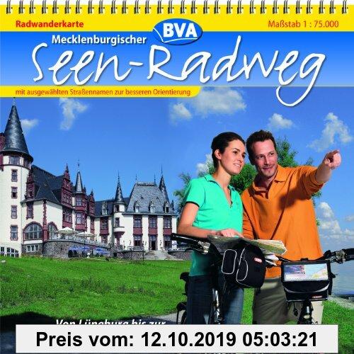 Gebr. - Mecklenburgischer Seen-Radweg 1 : 75 000. Radwanderkarte: Von Lüneburg bis zur Insel Usedom. Radwanderkarte mit ausgewählten Straßennamen zur