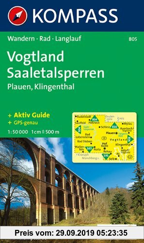 Gebr. - Vogtland - Saaletalsperren - Plauen: Wanderkarte mit Kurzführer, Radwegen und Loipen. 1:50.000 (Kompaß-Wanderkarte, Band 805)