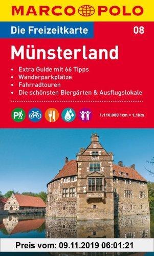 Gebr. - MARCO POLO Freizeitkarte Münsterland 1:110.000: Extra Guide mit 66 Tipps / Wanderparkplätze / Fahrradtouren / Die schönsten Biergärten & Ausfl