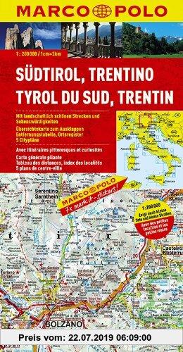 Gebr. - MARCO POLO Karte Südtirol, Trentino 1:200.000: Mit landschaftlich schönen Strecken und Sehenswürdigkeiten / Übersichtskarte zum Ausklappen / .