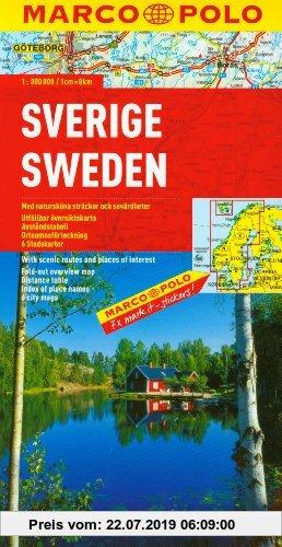 Gebr. - MARCO POLO Länderkarte Schweden 1:800.000: Mit landschaftlich schönen Strecken und Sehenswürdigkeiten. Übersichtskarte zum Ausklappen, Entfern