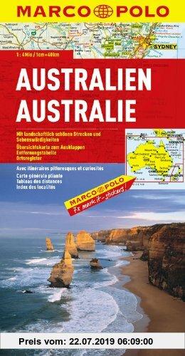 Gebr. - MARCO POLO Kontinentalkarte Australien 1:4 Mio.: Mit landschaftlich schönen Strecken und Sehenswürdigkeiten. Übersichtskarte zum Ausklappen, E