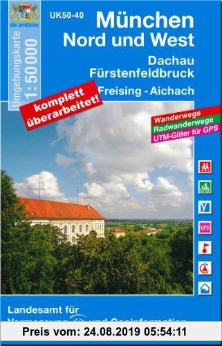 Gebr. - München Nord und West 1 : 50 000: Fürstenfeldbruck, Dachau, Freising, Aichach. Mit Wanderwegen, Radwanderwegen, UTM-Gitter für GPS (UK 50-40):